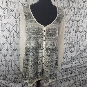 Free People Cream Gray Fair Isle Babydoll Sweater